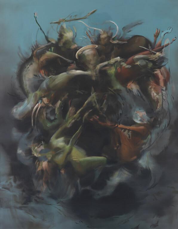 Antonio e i demoni, 2013, Öl auf Leinwand, 200x155cm, © Nazzarena Poli Maramotti