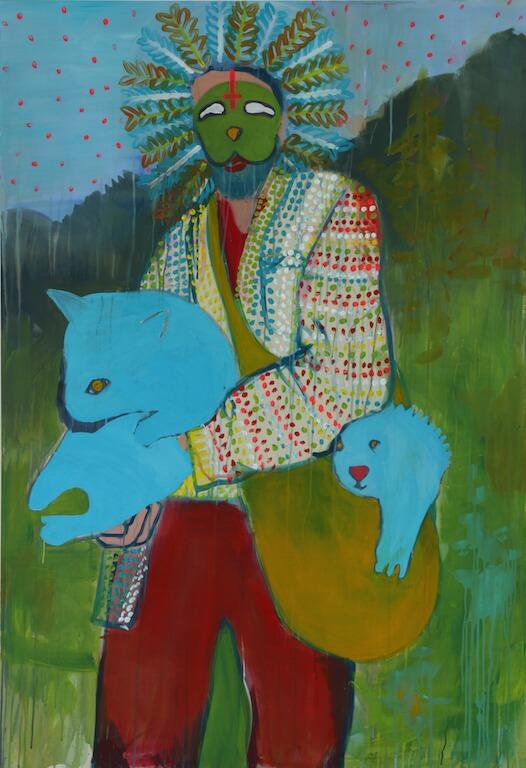 """""""Pickup Artist: WOMBATS"""" 2015 175x120 cm Akryl auf Leinwand, © Eva Nüßlein"""