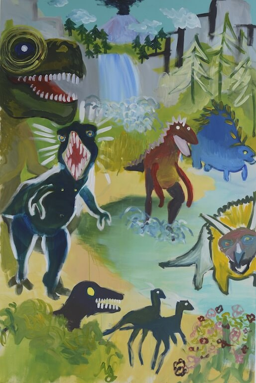 """Queens of the mesozoic II"" 2015 180x120cm Akryl auf Leinwand, © Eva Nüßlein"