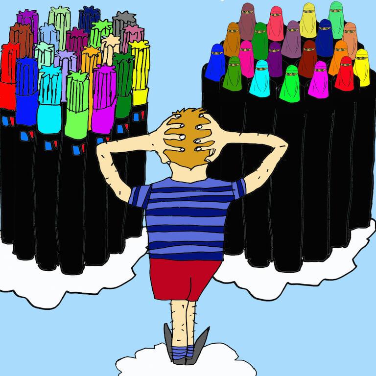 Hebdos Qual der Wahl,2015,analoge Zeichnung, digital coloriert, © Jonas Dorner