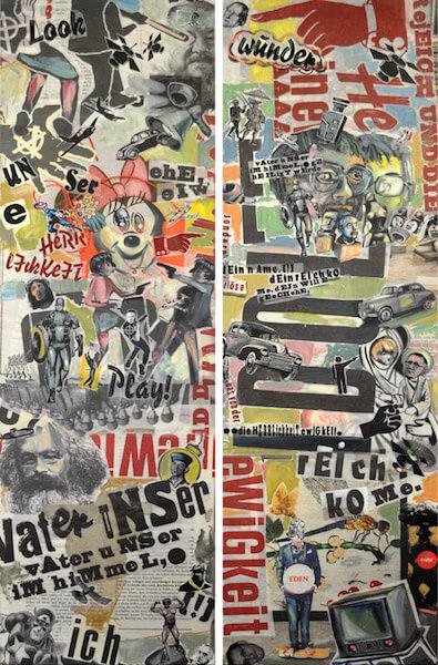 Johannes Häfner: Collage Übermalung, 140 x 225 cm, © Johannes Häfner