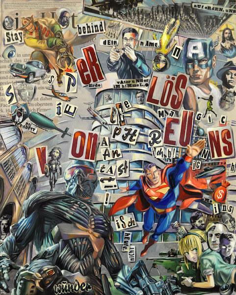 Johannes Häfner: Collage Erlöse uns, 150 x 120 cm, © Johannes Häfner