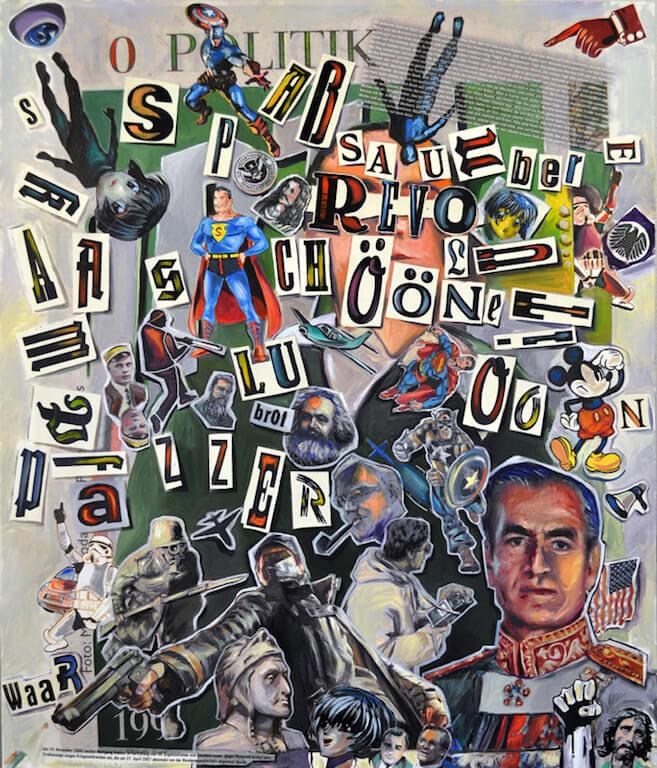 Johannes Häfner: Collage Schön, 120 x 100 cm, © Johannes Häfner