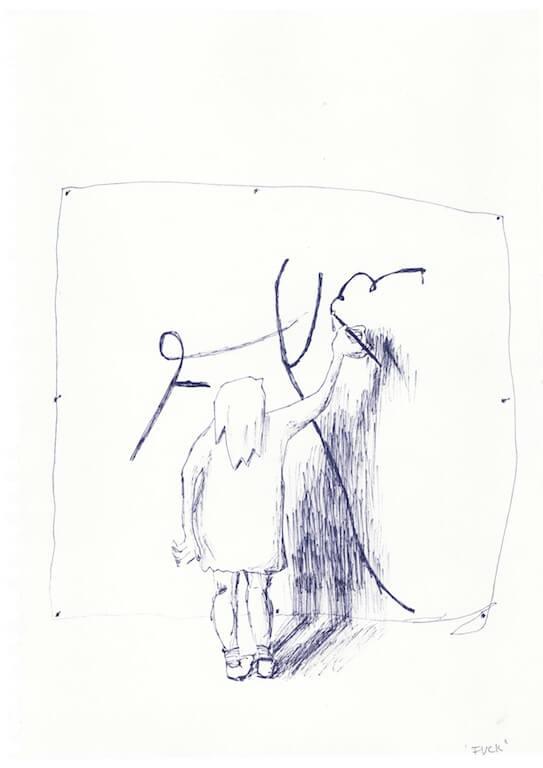 fuck, Kugelschreiber auf Papier, 20x30cm, © Antonia Beer