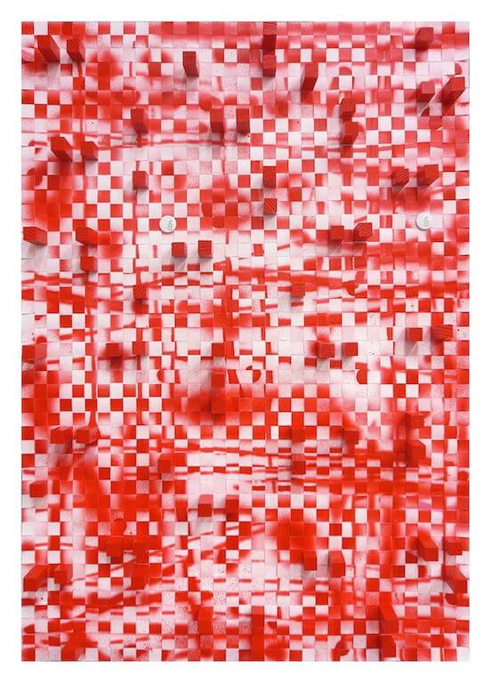 Jan Albers: redrOOster, 2011, Sprühfarbe, Holz und Buttons auf Papier, 100 x 70 cm, Privatsammlung, © Pressefoto Kunstpalais Erlangen