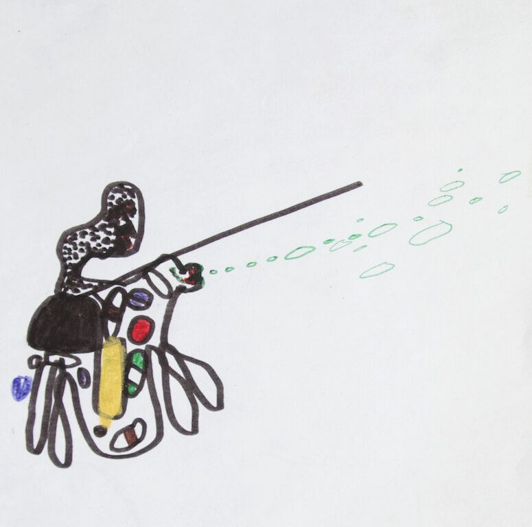 Reiter, Mischtechnik auf Papier, 30x30cm, © Antonia Beer