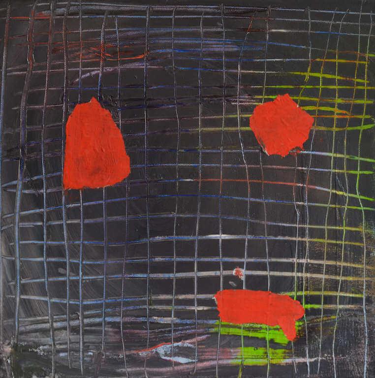 three dots, Mischtechnik auf Leinwand, 41 x41 cm, © Antonia Beer