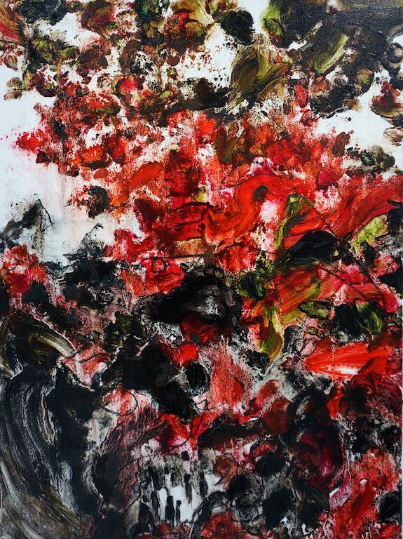 Unter dem Rot | 2015 | Öl auf Leinwand | 80 x 60 cm, © Jihee Kim