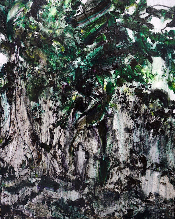 Ins Grün | 2015 | Öl auf Leinwand | 100 x 80 cm, © Jihee Kim