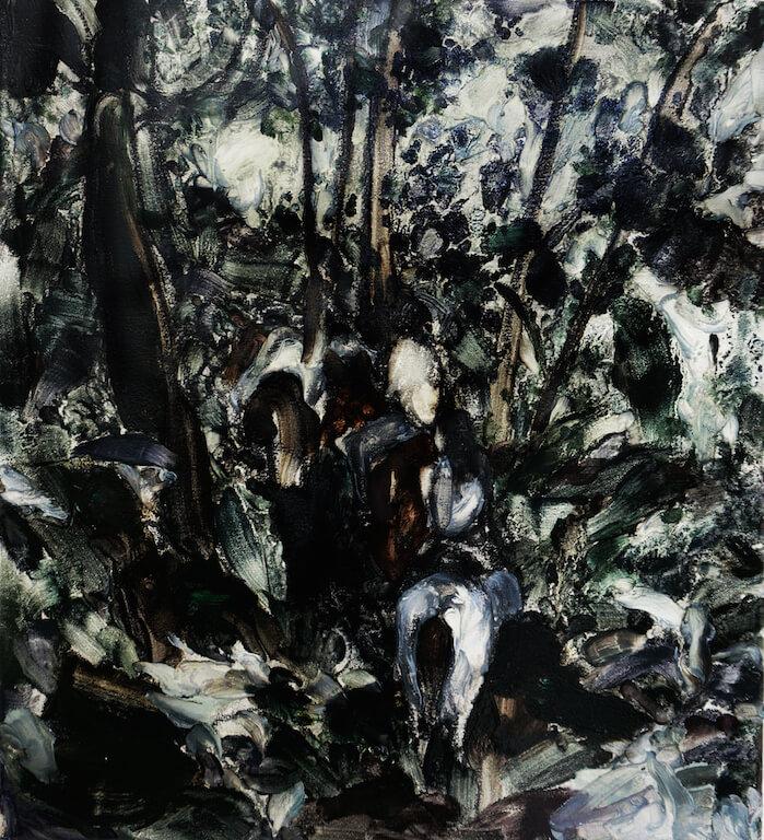 Drei Menschen mit Pferde   2014   Öl auf Leinwand   50 x 45 cm, © Jihee Kim