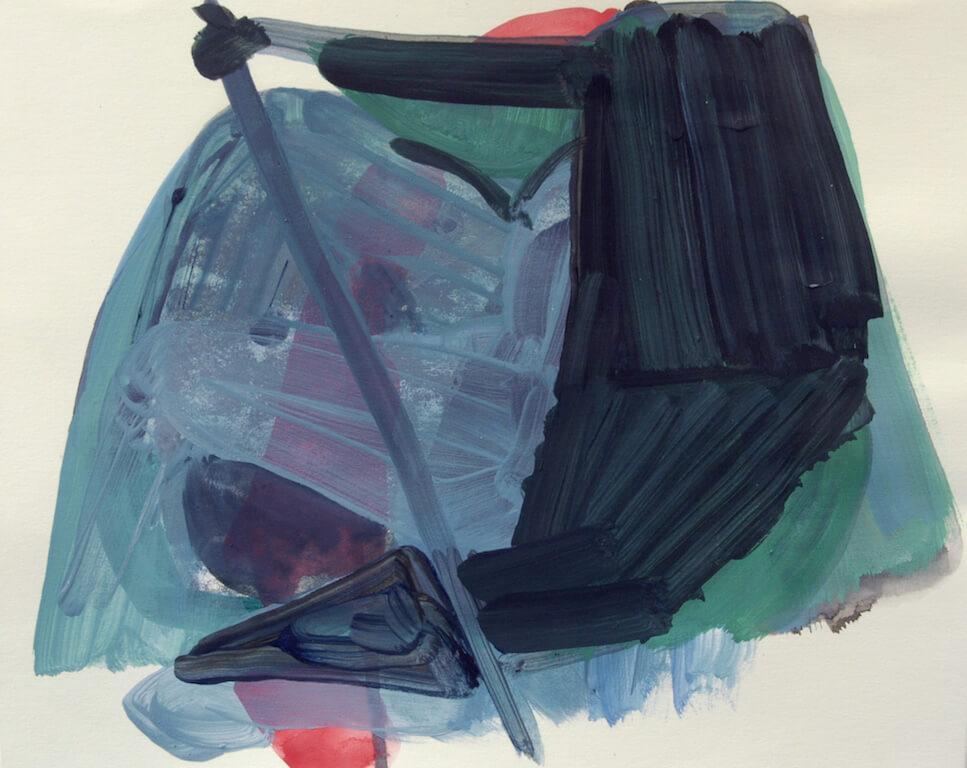 Christiane Bergelt: Tage im November 5, 20x25cm, 2013, Mischtechnik auf Papier. © Galerie Sturm