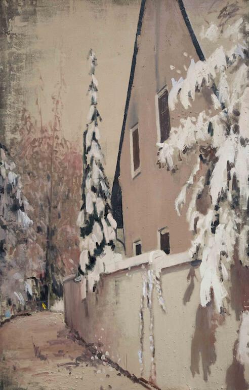 Jochen Pankrath: Geisterhaus, 200x130, Öl auf Leinwand, 2015, © Galerie Sturm
