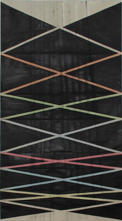 Jasmin Schmidt: Oktave, 2014, 195x105 cm, Öl auf Nessel auf Papier, © Galerie Sturm