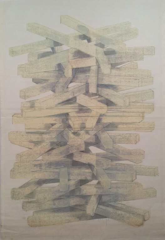 Jasmin Schmidt: Pack, Öl auf Nessel auf Papier, 210x138 cm, 2015, © Galerie Sturm