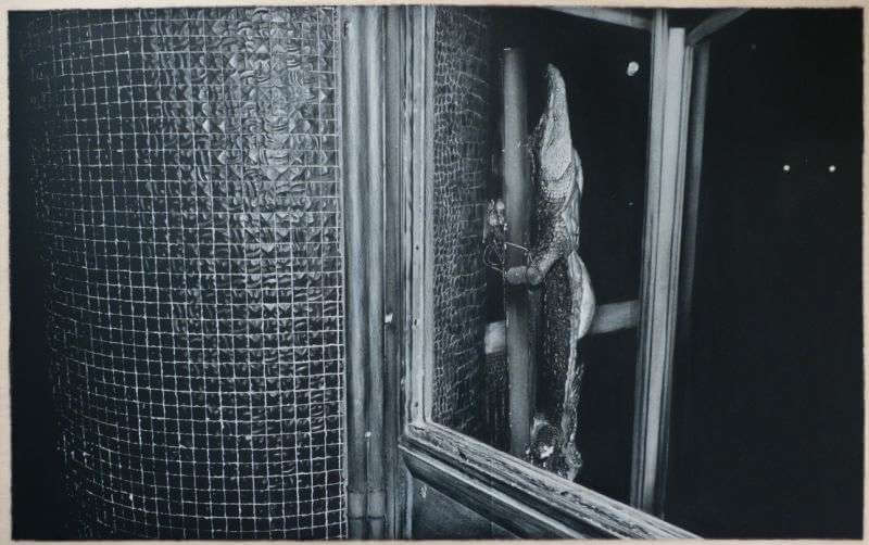 """Krucified Krok"", 60 by 90cm, White Crayon on Mylar, Film, 2014, © Alexandre Karaïvanov"
