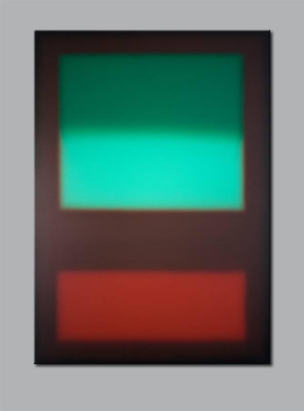 """Mint über Rostrot"" / 2013 / Acryl auf Leinwand / 100cm (H) x 70cm, © Mara Ruehl"