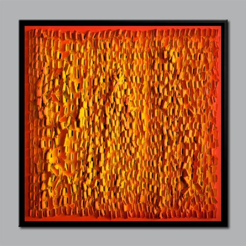 "Holzrelief ""ReFZ 23"" / 2015 / Acryl auf Holz / 47cm (H) x 47cm, ©Mara Ruehl"