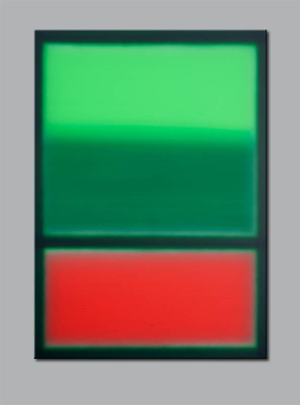 """Grün über Rot"" / 2014 / Acryl auf Leinwand / 100cm (H) x 70cm, © Mara Ruehl"
