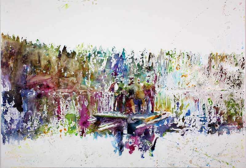 Martin Dammann: Oberfläche vs. Auftrag, 2015 Bleistift und Aquarell auf Hartfaser/pencil and watercolour on board, 160,5 x 230,5 cm © Martin Dammann & Galerie Barbara Thumm
