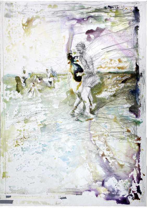 Martin Dammann: Pas de deux, 2014 Bleistift, Aquarell, Ölkreide auf Hartfaserplatte/pencil, watercolour, wax oil crayon on board, 143 . 101,5 cm © Martin Dammann & Galerie Barbara Thumm