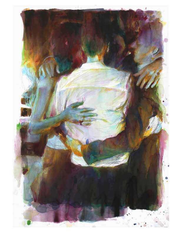 Martin Dammann: Inferno (Paar), 2014 Aquarell auf Papier/watercolour on paper, 133 x 94 cm; © Martin Dammann, InSitu: Fabienne Leclerc, Paris