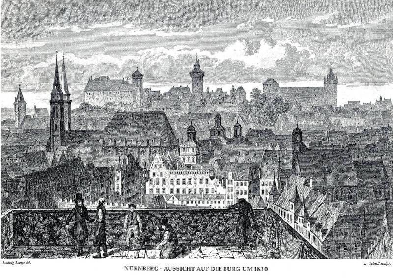 Nürnberg, Aussicht auf die Burg, um 1830