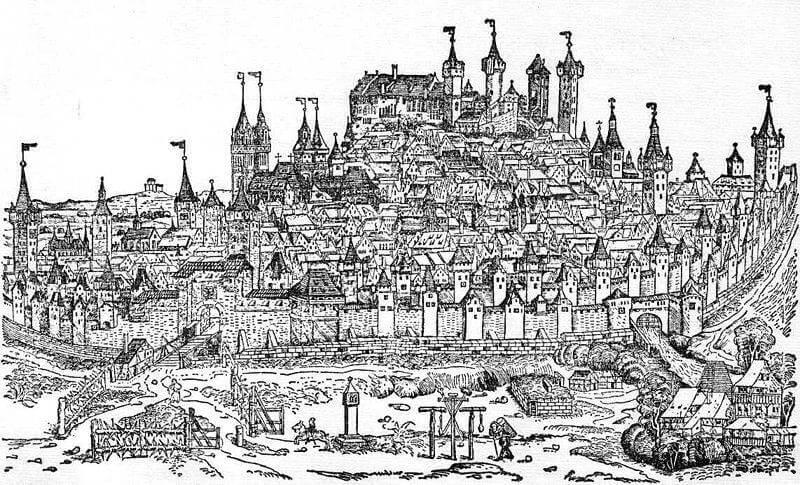 Stadtansicht von Nürnberg aus der Schedelsche Weltchronik, 1493,
