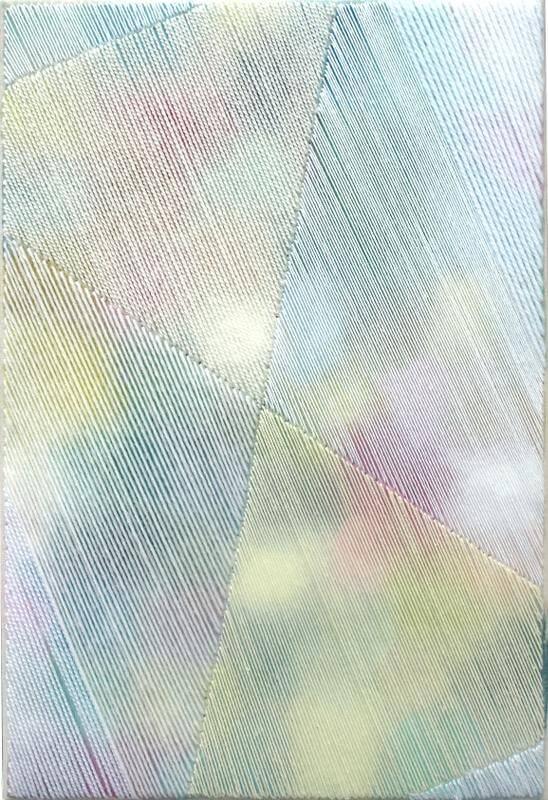 Moik, 2014, 30 x 20 cm, Aquarell, Garn auf Leinwand, © Linda Männel