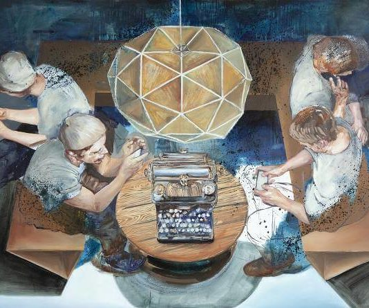 Café International. 140 x 250 cm. Öl auf Leinwand. 2014, © Stephanie Walter