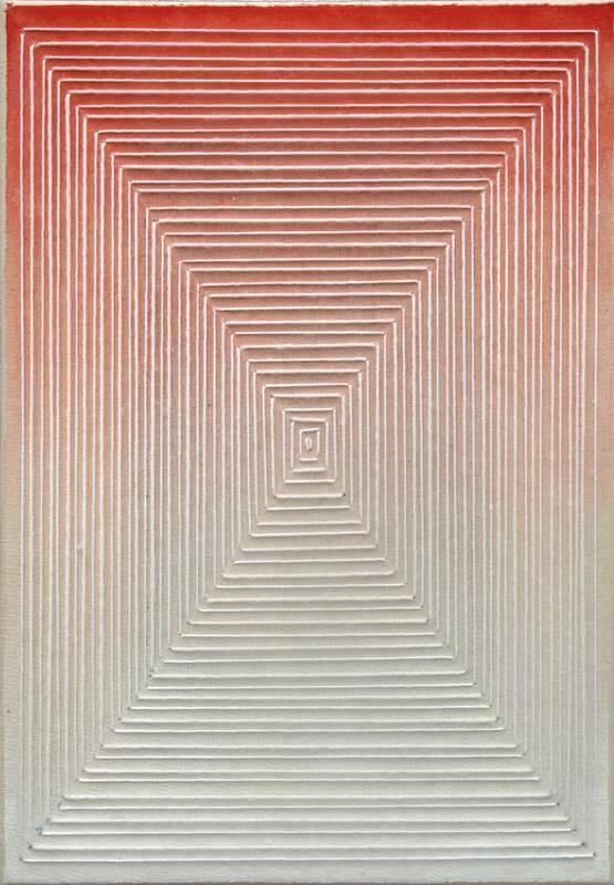 o.T., 2014, 30 x 20 cm, Aquarell, Garn auf Leinwand, © Linda Männel
