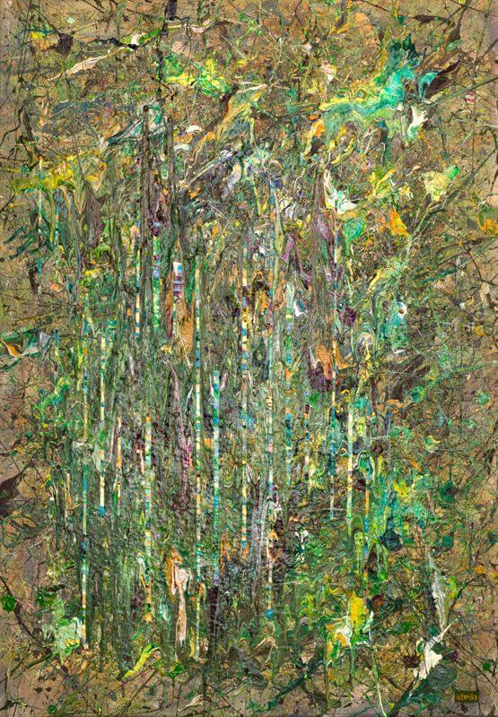 frequentiert und fragmentiert, 2015, 70 x 100 cm; Acryl und Spray auf Leinwand