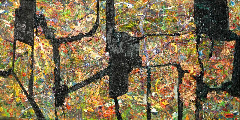 """Je Suis Désolée, 2015, 100 x 50 cm; Acryl, Spray, Kleber und """"Orange Revolution"""", zerrissen und aufgeklebt auf Leinwand, © isterika"""