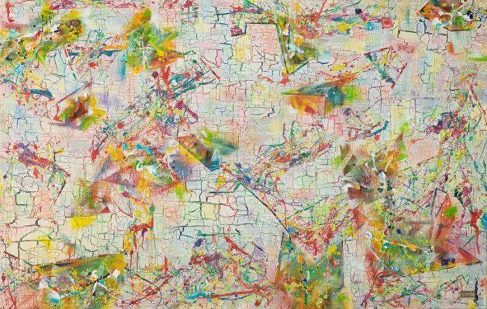 Much More Pleasure, Please, 2015, 110 x 70 cm; Acryl, Spray, Stoff und Pastell auf Leinwand