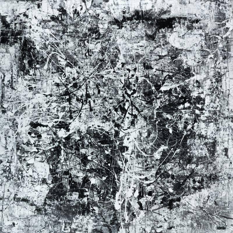 Not Guilty, 2015, 80 x 80 cm; Acryl, Spray, Holzspäne und Kreide auf Leinwand