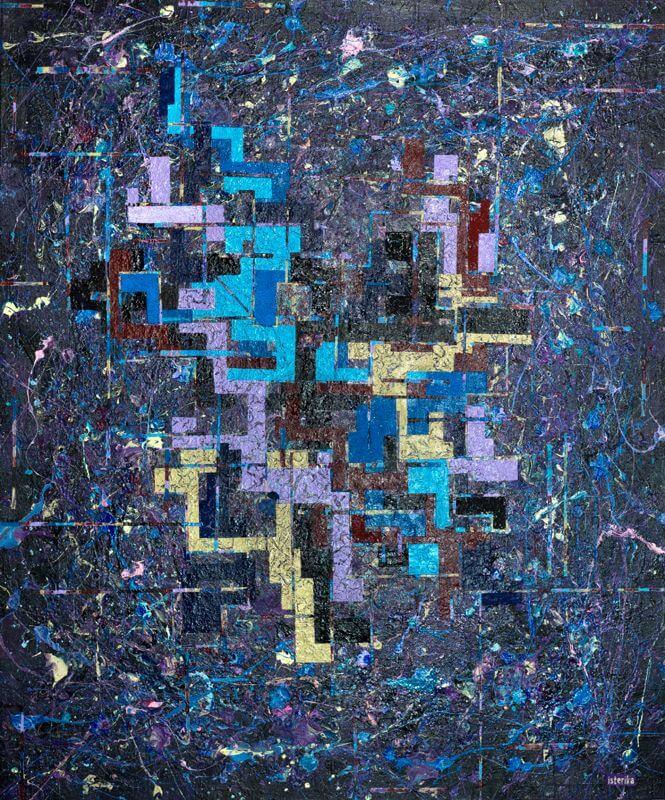 SICHUMZWEIUNDVIERZIGSORGENMACHEN, 2015, 100 x 120 cm; Acryl, Spray und Glaspartikeln auf Leinwand