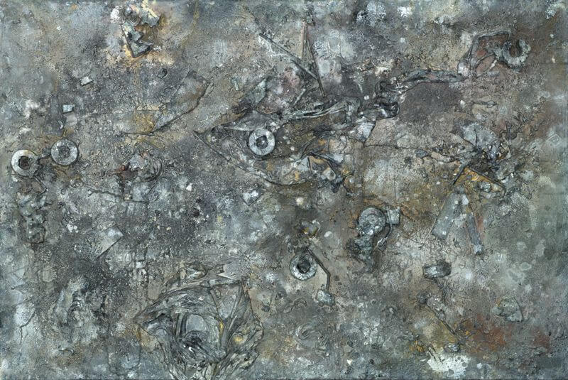 The Imperfectionist, 2015, 120 x 80 cm; Acryl, Spray, Pastell, Strohhalme, Stoff, Kleber, Schaumstoff, Montageschaum und Holzspäne auf Leinwand