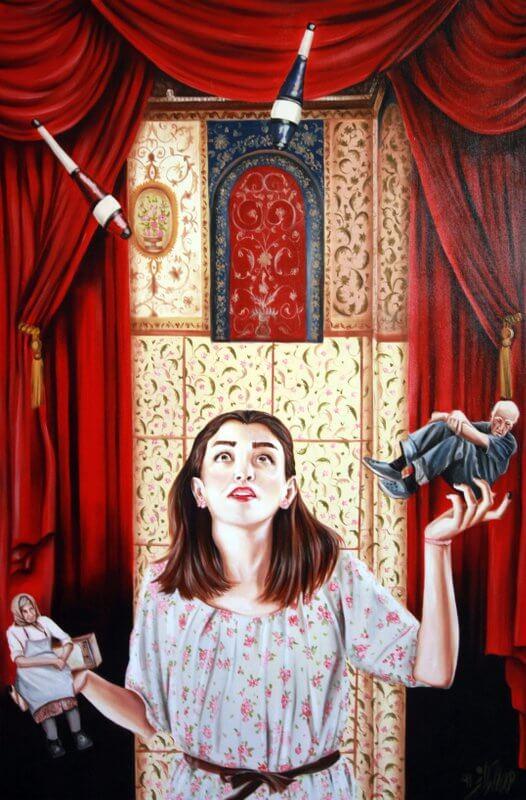 Family Circus, 80 x 120 cm, 2012 Öl auf Leinwand, © Homa Arkani
