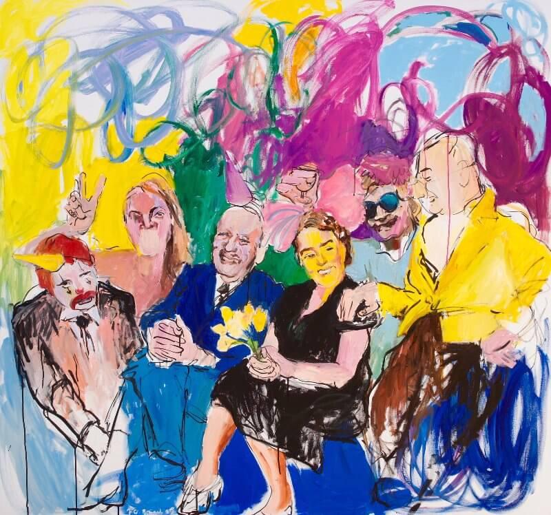 Auf ihren Stirnen hat gelber Schein alle Gedanken verdrängt, 2015, Acryl / Tusche auf Leinwand, 140 x 150 cm