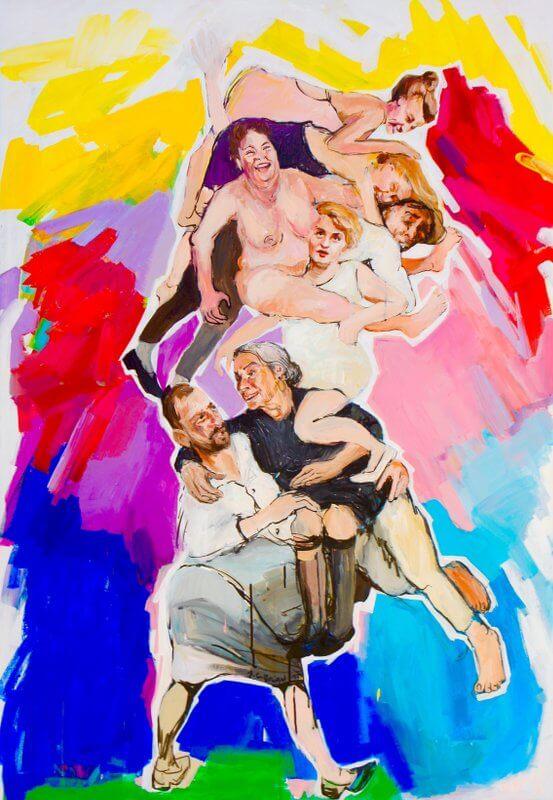 So schaust du eine wankende Welt, durcheinandergehäuft, 2015, Acryl / Tusche auf Leinwand, 130 x 90 cm