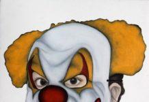 Marion Auburtin Clown Malefique (aus der Serie La Nuit des Masques), 2014 Öl auf Papier, 40 x 50 cm, Courtesy the artist