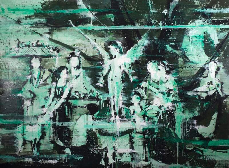 "Lars Teichmann ""Smaragd angel"", 2015 Acryl und Lack auf Leinwand // 200 x 270 cm // Courtesy the artist"