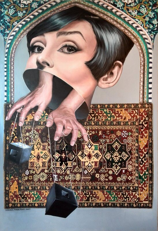 Mind Playing, 120 x 150 cm, Öl auf Leinwand, 2015, © Homa Arkani