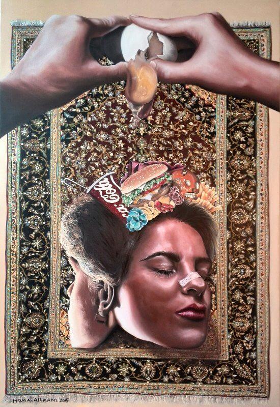 Pop Girl, 120 x 80 cm, Öl auf Leinwand, 2015, © Homa Arkani