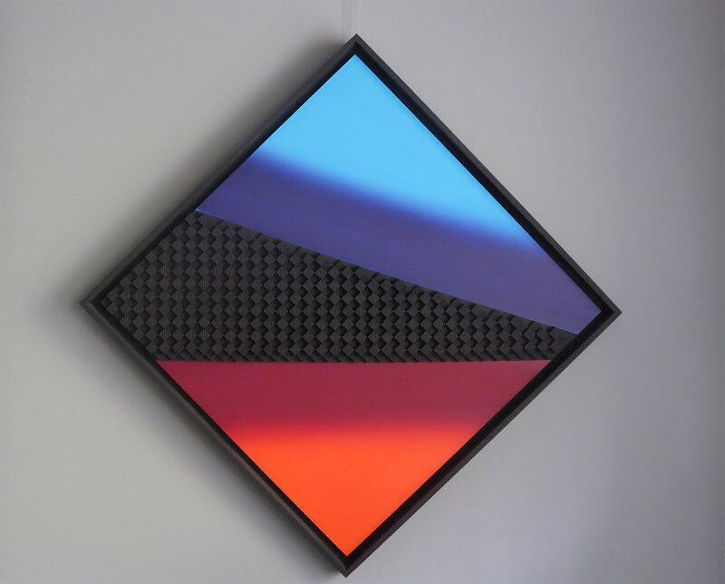 """Schwarz-Orangerot-Blau"", FRF SZ 1 123cm x 123cm, © Mara Ruehl"