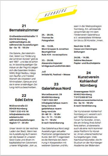 Kunsttermine Nürnberg, Fürth, Erlangen Sommerausgabe 2016
