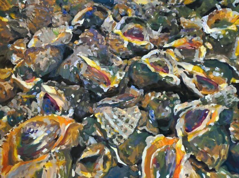 Kwang-Jun Song, Tritonshörner, 2015, Öl auf Leinwand, 120 x 160 cm