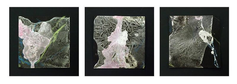 Crystal Drawing Serie, 2016, Mischtechnik, je 10 x 10 cm, © Elizabeth Thallauer