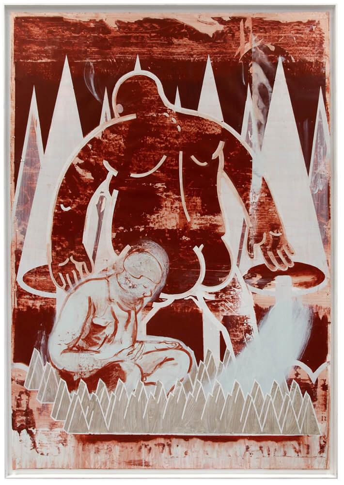 "Ludwig Hanisch ""Rückblende"" 2016 Acryl auf Papier 188 x 131 cm"