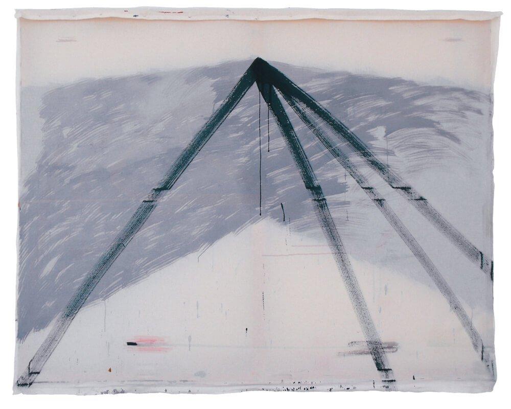 "Karina Kueffner ""untitled (tent)"" 2015 Tempera, Textil auf Holzrahmen 125 x 165 cm"