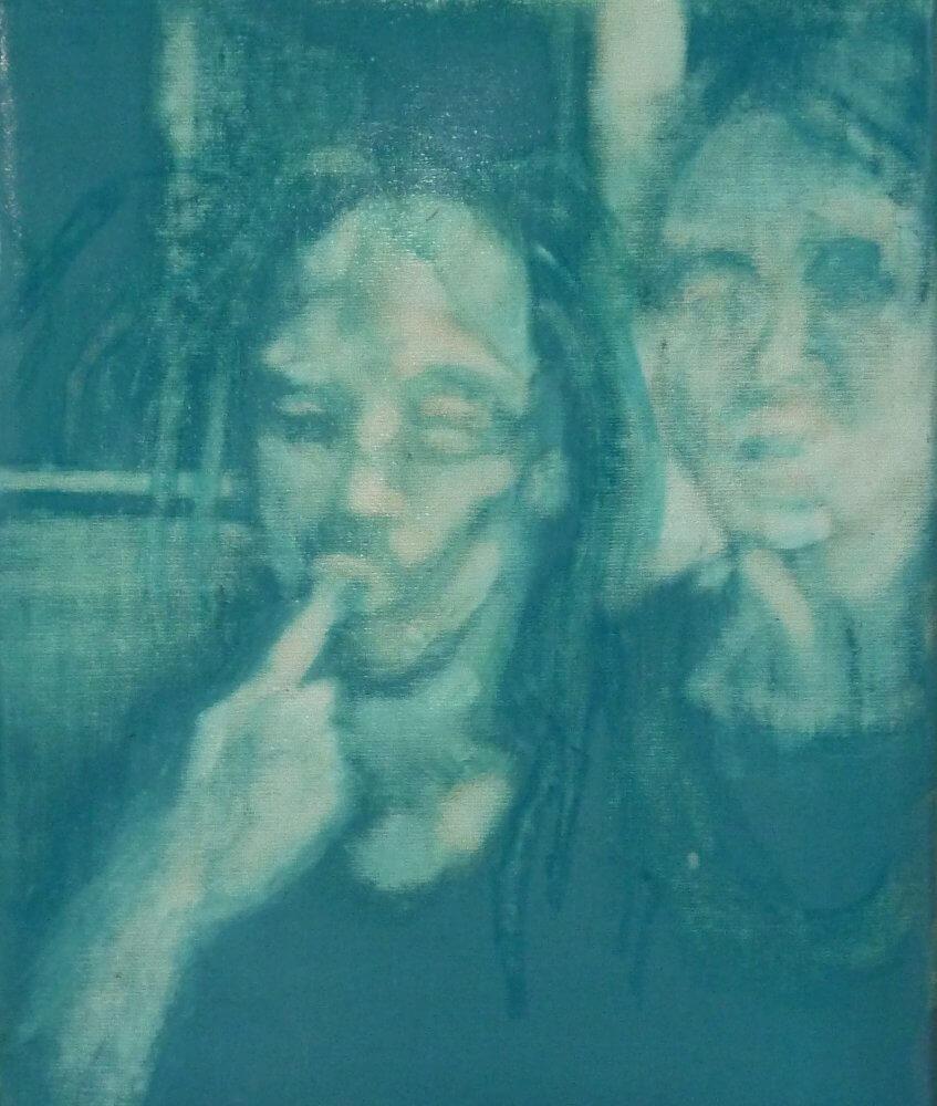 Lisa Wölfel: nachts auf tour 2016, 30 cm x 24 cm, Tusche Lack auf Leinwand